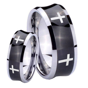 Bride and Groom Crosses Concave Black Tungsten Carbide Bands Ring Set
