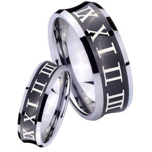 Bride and Groom Roman Numeral Concave Black Tungsten Mens Promise Ring Set