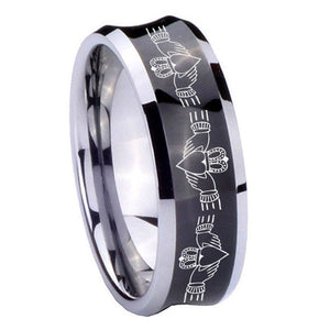 10mm Irish Claddagh Concave Black Tungsten Carbide Mens Bands Ring