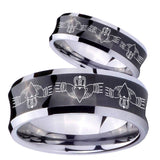 Bride and Groom Irish Claddagh Concave Black Tungsten Men's Promise Rings Set