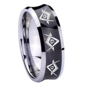 10mm Master Mason Masonic  Concave Black Tungsten Carbide Men's Engagement Ring