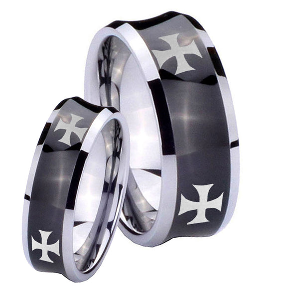 Bride and Groom 4 Maltese Cross Concave Black Tungsten Anniversary Ring Set