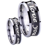8mm I Love You Forever and ever Concave Black Tungsten Carbide Men's Band Ring