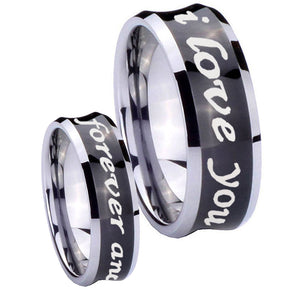 His Hers I Love You Forever and ever Concave Black Tungsten Mens Ring Set