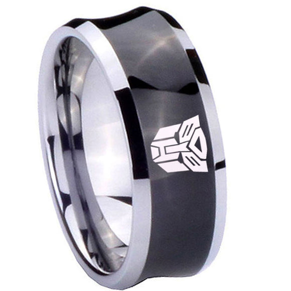 8mm Transformers Autobot Concave Black Tungsten Carbide Custom Mens Ring