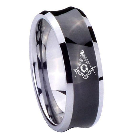 10mm Master Mason Masonic Concave Black Tungsten Carbide Men's Wedding Band