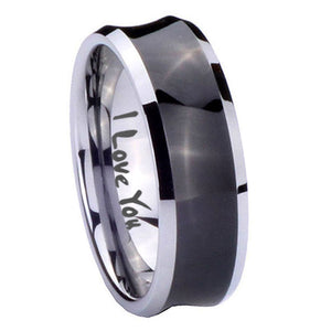 8mm I Love You Concave Black Tungsten Carbide Men's Promise Rings