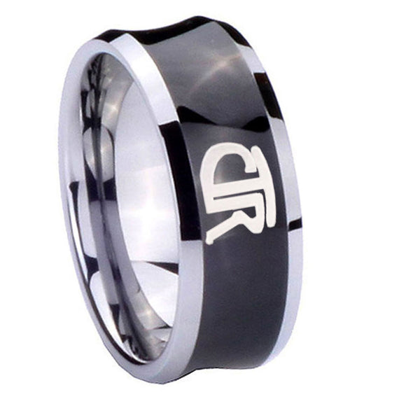 8mm CTR Concave Black Tungsten Carbide Mens Engagement Ring