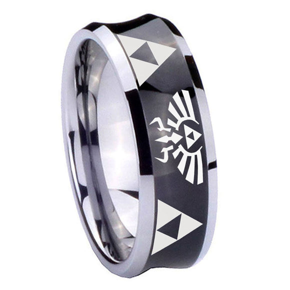 8mm Legend of Zelda Concave Black Tungsten Carbide Mens Ring Personalized