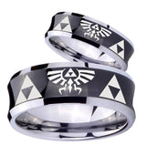 His Hers Legend of Zelda Concave Black Tungsten Wedding Engraving Ring Set
