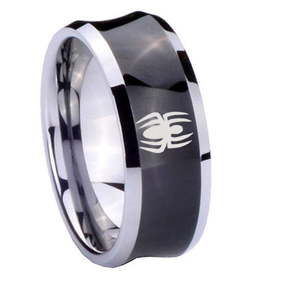 8mm Spiderman Concave Black Tungsten Carbide Mens Engagement Ring