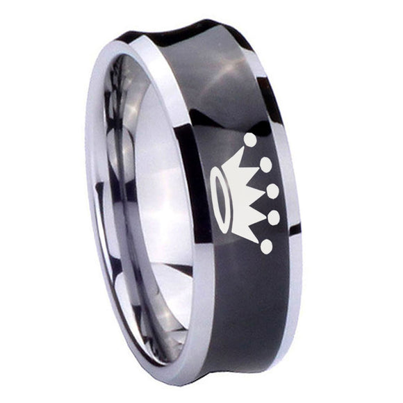 8mm Crown Concave Black Tungsten Carbide Wedding Band Mens