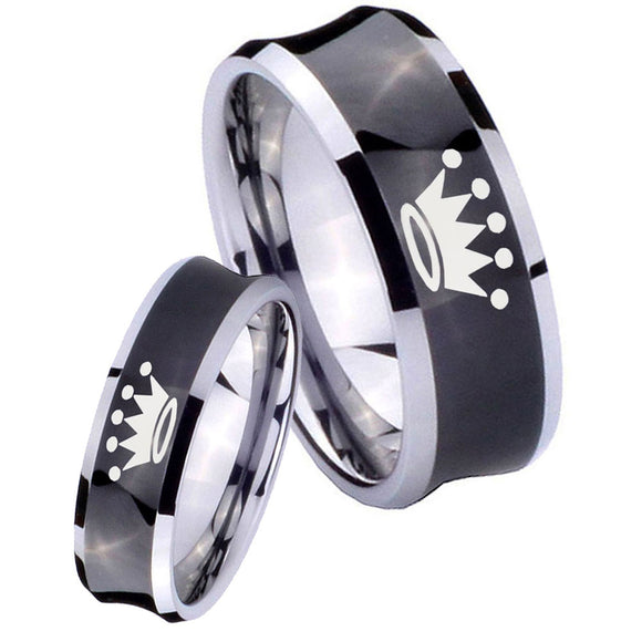 Bride and Groom Crown Concave Black Tungsten Carbide Mens Bands Ring Set