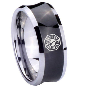 10mm Lost Dharma Concave Black Tungsten Carbide Wedding Band Ring