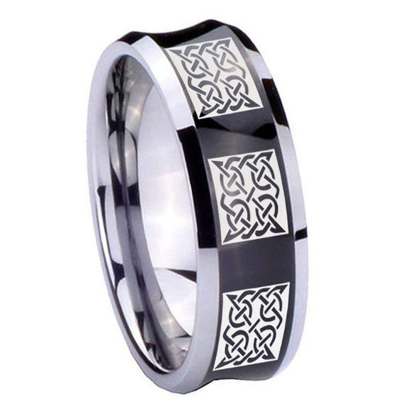 10mm Multiple Celtic Concave Black Tungsten Carbide Men's Wedding Ring