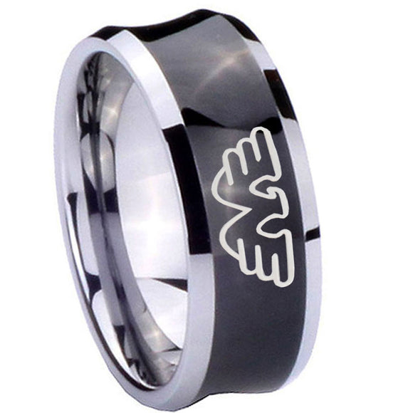 8mm Waylon Jennings Concave Black Tungsten Carbide Rings for Men