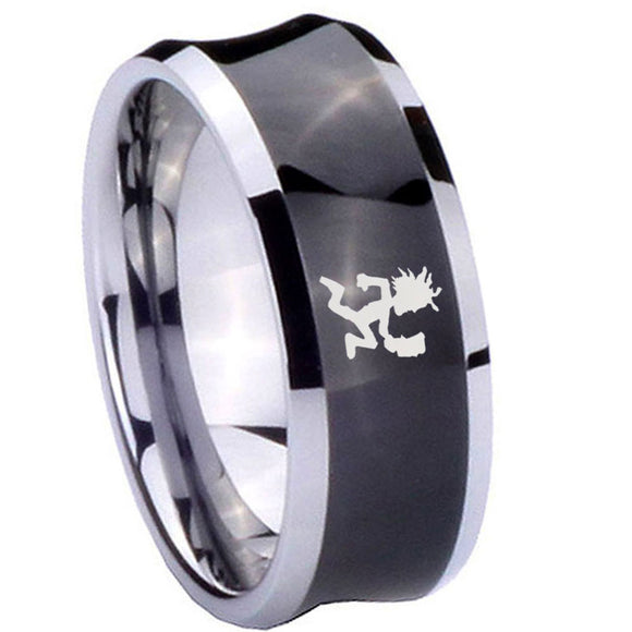 10mm Hatchet Man Concave Black Tungsten Carbide Custom Ring for Men