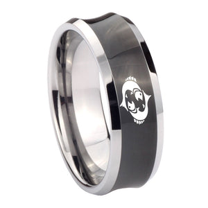 10mm Pisces Zodiac Horoscope Concave Black Tungsten Carbide Anniversary Ring