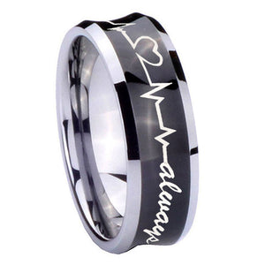 8mm Heart Beat forever Heart always Concave Black Tungsten Wedding Band Mens
