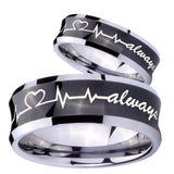 His Hers Heart Beat forever Heart always Concave Black Tungsten Wedding Ring Set