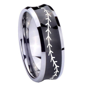 8mm Baseball Stitch Concave Black Tungsten Carbide Wedding Bands Ring