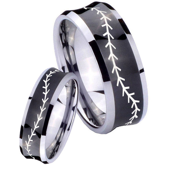 Bride and Groom Baseball Stitch Concave Black Tungsten Anniversary Ring Set