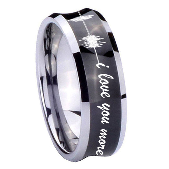 10mm Sound Wave, I love you more Concave Black Tungsten Carbide Men's Band Ring