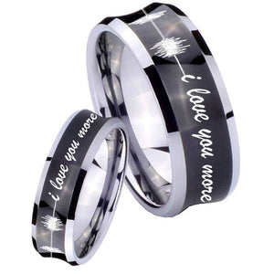 His Hers Sound Wave, I love you more Concave Black Tungsten Mens Ring Set