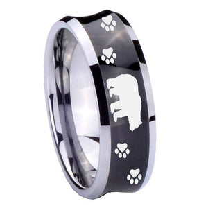 8mm Bear and Paw Concave Black Tungsten Carbide Men's Bands Ring