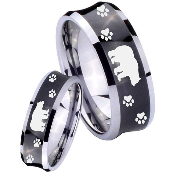 Bride and Groom Bear and Paw Concave Black Tungsten Men's Wedding Ring Set
