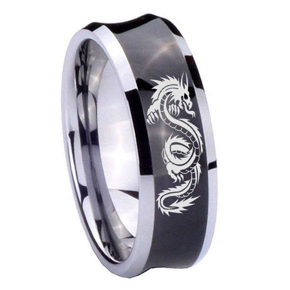 8mm Dragon Concave Black Tungsten Carbide Mens Wedding Ring