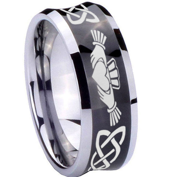 10mm Irish Claddagh Concave Black Tungsten Carbide Men's Engagement Band