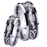 Bride and Groom Irish Claddagh Concave Black Tungsten Men's Band Ring Set