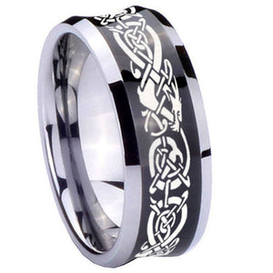 8mm Celtic Knot Dragon Concave Black Tungsten Carbide Mens Bands Ring