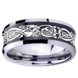 10mm Celtic Knot Dragon Concave Black Tungsten Carbide Rings for Men
