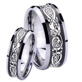 His and Hers Celtic Knot Dragon Concave Black Tungsten Men's Bands Ring Set