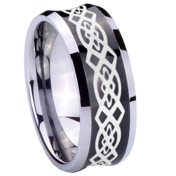 10mm Celtic Knot Concave Black Tungsten Carbide Wedding Band Mens