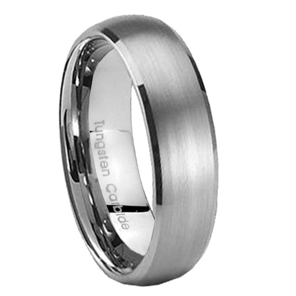 5MM Tungsten Carbide Satin Silver Color Dome Women Bands Ring
