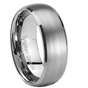 8MM Tungsten Carbide Satin Silver Color Dome Men Bands Ring