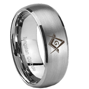 8mm Freemason Masonic Dome Brushed Tungsten Carbide Men's Promise Rings