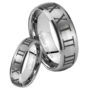 Bride and Groom Roman Numeral Dome Brushed Tungsten Men's Engagement Ring Set