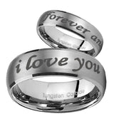 His Hers I Love You Forever and ever Dome Brushed Tungsten Mens Wedding Ring Set