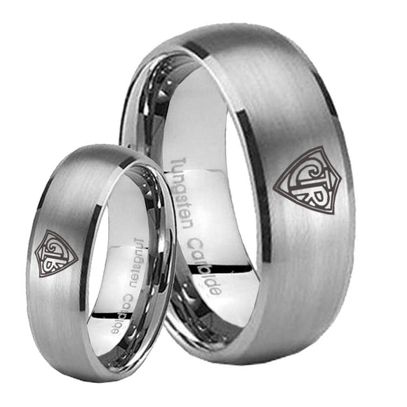 Bride and Groom CTR Dome Brushed Tungsten Carbide Men's Engagement Band Set