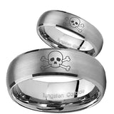 Bride and Groom Skull Dome Brushed Tungsten Carbide Mens Ring Personalized Set