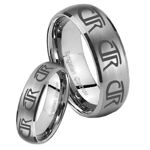 Bride and Groom Multiple CTR Dome Brushed Tungsten Men's Wedding Band Set