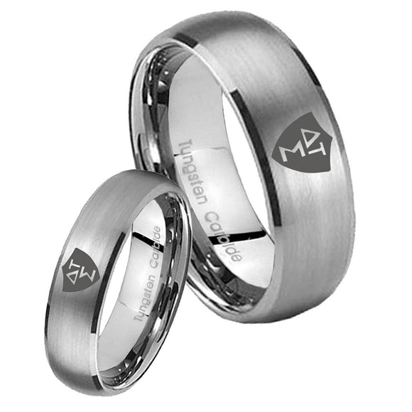 Bride and Groom Greek CTR Dome Brushed Tungsten Carbide Men's Band Ring Set