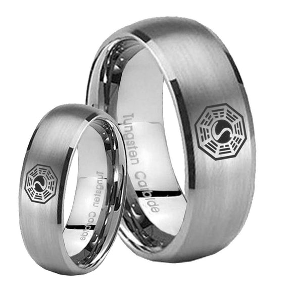 Bride and Groom Lost Dharma Dome Brushed Tungsten Mens Ring Personalized Set