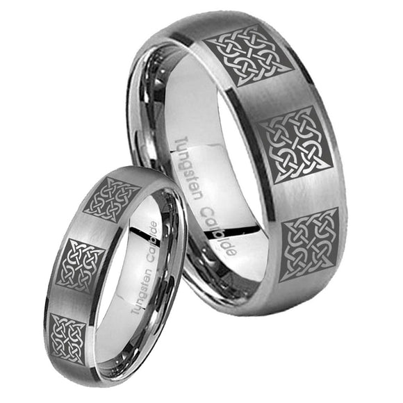 Bride and Groom Multiple Celtic Dome Brushed Tungsten Carbide Bands Ring Set