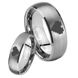 His Her Satin Silver Dome Zelda Heart Tungsten Carbide Wedding Rings Set