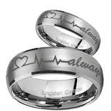 His Hers Heart Beat forever Heart always Dome Brushed Tungsten Mens Ring Set